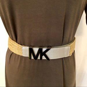 💕MK Signature Silver Logo Raffia Belt   Size S/M